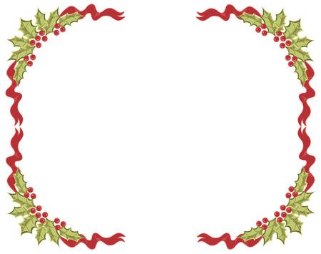 a sprig: Christmas frame.Vintage background with Holly sprig for design