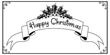a sprig: Desplazamiento de la Navidad y el texto.Vintage fondo gr�fico con Holly ramita de dise�o