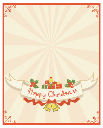 Christmas scroll and text.Vintage background with Holly sprig for design Vector