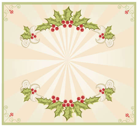 Christmas frame.Vintage background with Holly sprig  Vector