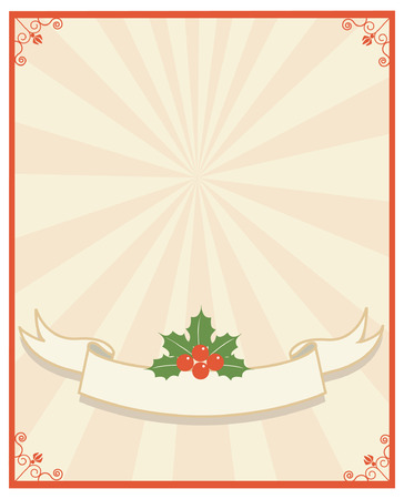 sprig: Christmas scroll and text.Vintage background with Holly sprig for design Illustration