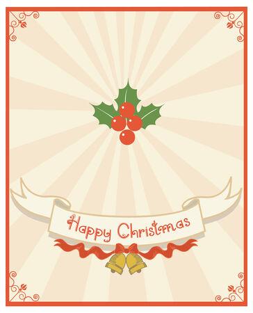 a sprig: Fondo de desplazamiento y text.Vintage de Navidad con ramillete de Holly para dise�o Vectores