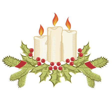 Christmas candles and holly sprigs on white.