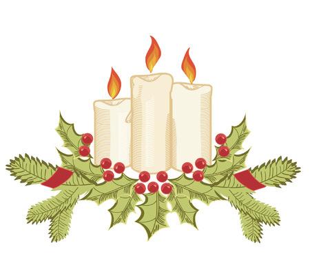 tenedores: Velas de Navidad y ramitas de acebo en blanco.  Vectores
