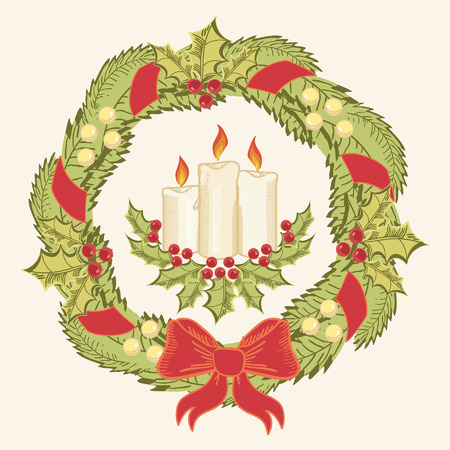 Christmas wreath and candles decoration .Vintage elements  Vector