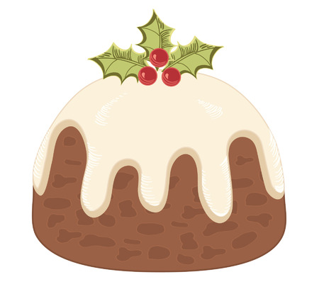 indulgence: Christmas pudding on white. Illustration