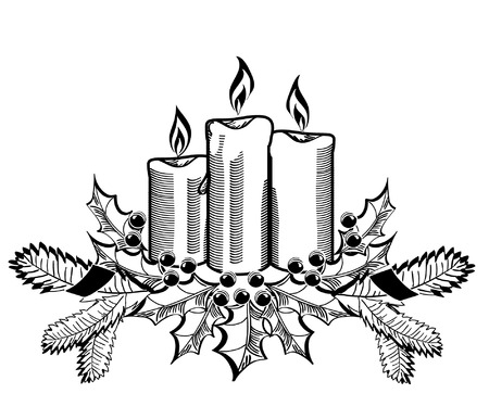 Christmas candles and holly sprigs on white. Vector