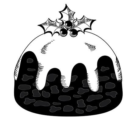 indulgência: Christmas pudding on white. Ilustração