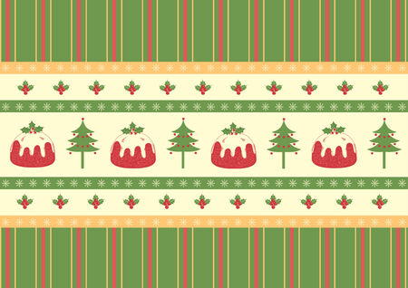 Christmas decoration.vintage pattern with pudding and text Stock Vector - 8356400