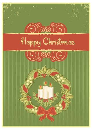 Christmas wreath and candles decoration .Vintage card on green Vector