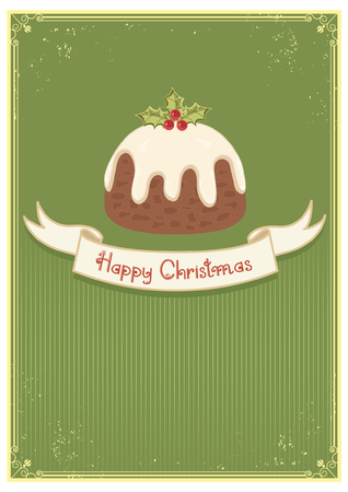 Christman pudding on green vintage background and text Vector