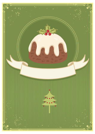 indulgence: Christman pudding on green vintage background and text