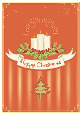 Christmas card with candles decoration .Vintage card  Vector