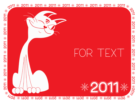 Cat and background.New Year symbol for text Vector