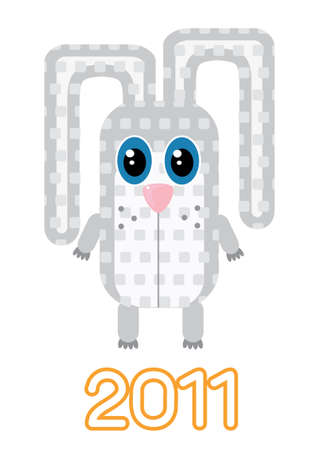 Rabbit .new year symbol on white Vector