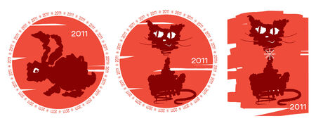 Cat and rabbit .New Year symbol for text Vector