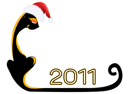 Cat .New Year symbol for text Vector