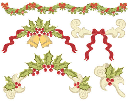 ashberry: christmas elements with ashberry on white for design