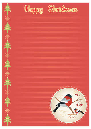 Vector vintage christmas background with bullfinches for text Stock Vector - 8452258