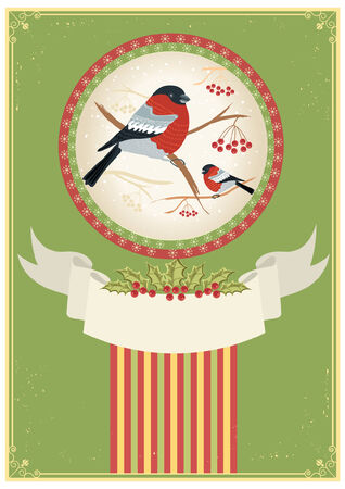 bullfinches on branches in winter. New year card holiday Stock Vector - 8404648