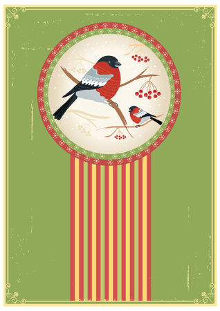bullfinches on branches in winter. New year card holiday Vector
