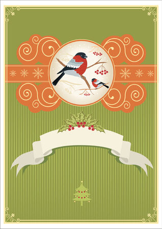 bullfinches on branches in winter. New year card holiday Stock Vector - 8404644