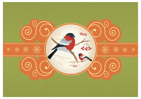 bullfinches on branches in winter. New year card holiday Stock Vector - 8404642