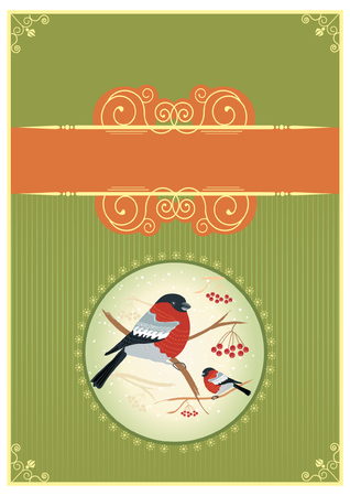 bullfinches on branches in winter. New year card holiday Stock Vector - 8404641