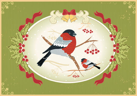 bullfinches on branches in winter .New year card holiday Stock Vector - 8404651