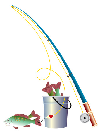 fishing pole: Fishing elements in winter. Illustration