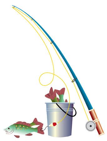 seau d eau: �l�ments de p�che en hiver. Illustration