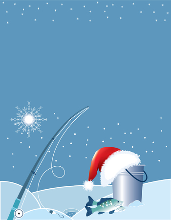 Santa fishing . Christmas cartoons with fishing elements in winter. Vector