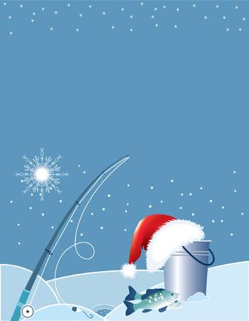 fishing pole: Santa fishing . Christmas cartoons with fishing elements in winter.
