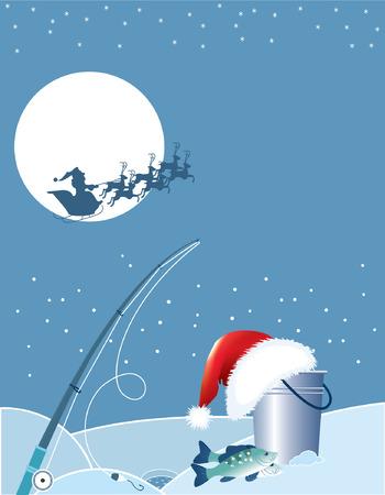 ice fishing: Pesca de Santa. Caricaturas de Navidad con elementos de pesca en invierno.