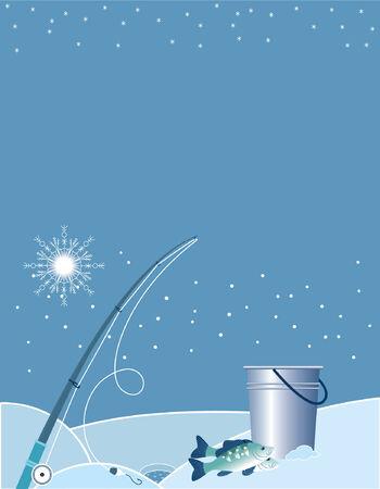ice fishing: Elementos de pesca en invierno.
