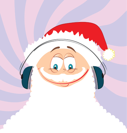 likes: Santa Claus likes music.vector cartoon Illustration
