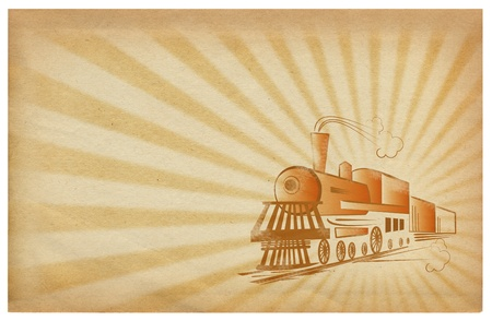 Old paper background with locomotive.Grunge photo