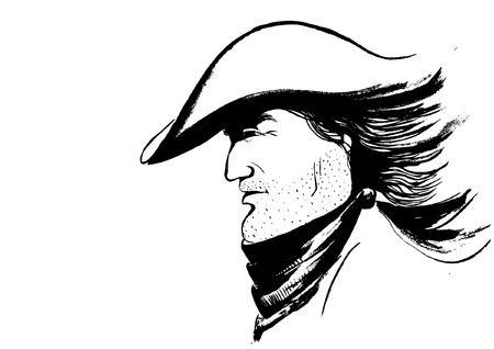 cowboy beard: Vector cowboy face.Graphic portrait of strong man Illustration