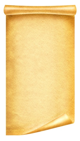 rolled scroll: Old paper background texture.Scroll for design on white Stock Photo