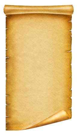 medieval scroll: Old paper background texture.Scroll for design on white Stock Photo