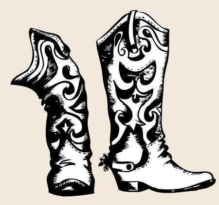 vaquero: Imagen gr�fica de la .Vector de botas de Cowboy Vectores