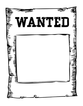 old poster: Vector wanted poster image on white