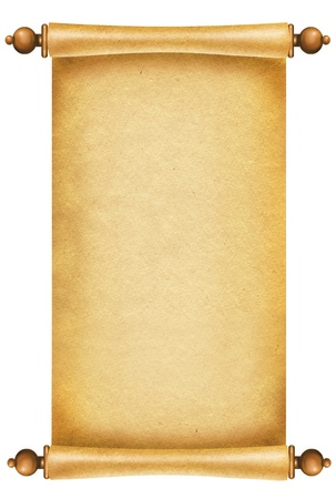 medieval scroll: Old paper background.Antique scroll on white