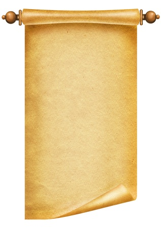 Old paper background.Antique scroll on white  photo