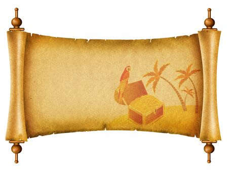 Old paper background.Antique scroll owith chest and parrot photo