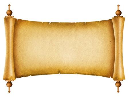 rękopis: Stare papieru tÅ'a.Antyczny przewijania na biaÅ'y