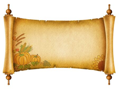 Scroll with pumpkins.Old paper texture for text n white Stock Photo - 8499441