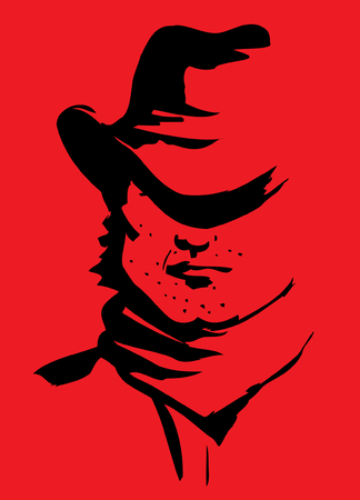 contrast: cowboy face.Graphic portrait of strong man on red