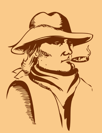 Vector portrait of man with hat and cigarette Vector