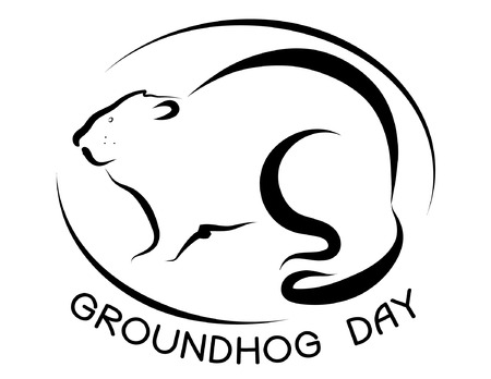 marmot: Symbol of Groundhog day with text. Vector black graphic